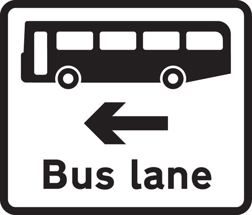 Information-sign-bus-lane-road-junction-ahead